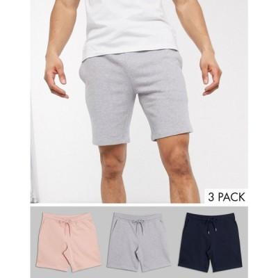 エイソス ASOS DESIGN メンズ ショートパンツ 3点セット ボトムス・パンツ 3 pack jersey slim shorts in navy/pink/grey marl