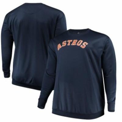Majestic マジェスティック スポーツ用品  Majestic Houston Astros Navy Big & Tall Poly Fleece Crew Neck Sweatshirt