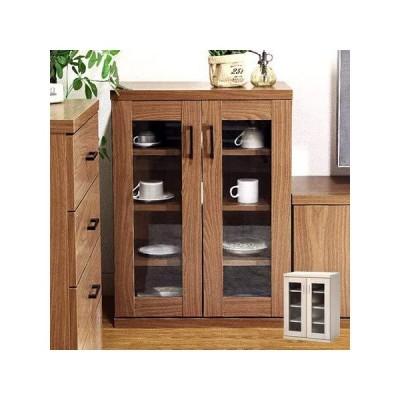 食器棚 キッチン収納 キャビネット 木製 幅60cm 高さ80cm - ホワイトウォッシュ(95500)