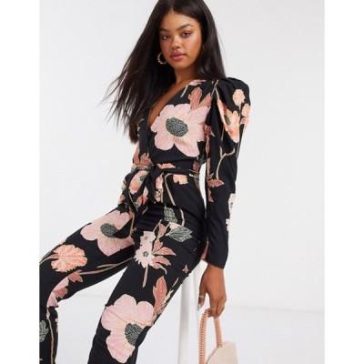 エイソス レディース ワンピース トップス ASOS DESIGN wrap peg leg jumpsuit in dark based floral print