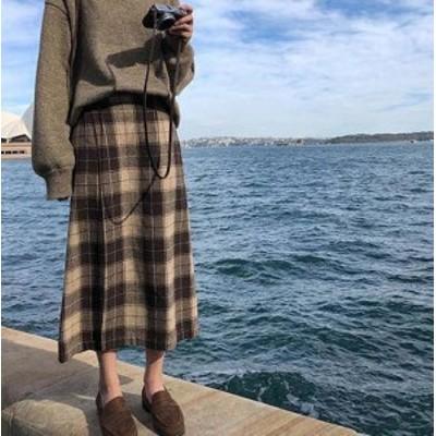 韓国 ファッション レディース スカート ロング チェック ラップ ハイウエスト カジュアル 大人可愛い レトロ カジュアル 秋冬