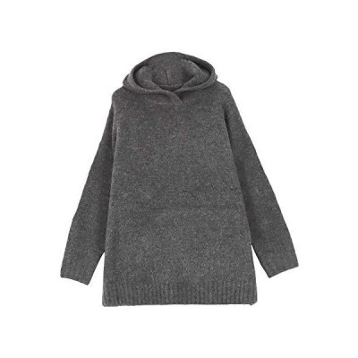 [神戸レタス] ふんわり ウォッシャブル フーディ ニット トップス [C4720] レディース セーター ワンサイズ(M) チャコール