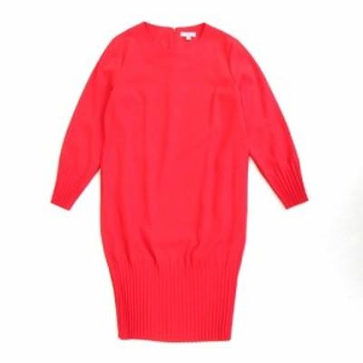 【中古】美品 コス COS プリーツ バルーン ワンピース カットソー バックジップ 長袖 無地 34 赤 レディース♪4