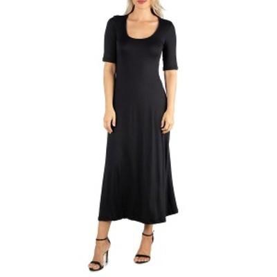24セブンコンフォート レディース ワンピース トップス Women's Casual Maxi Dress Black