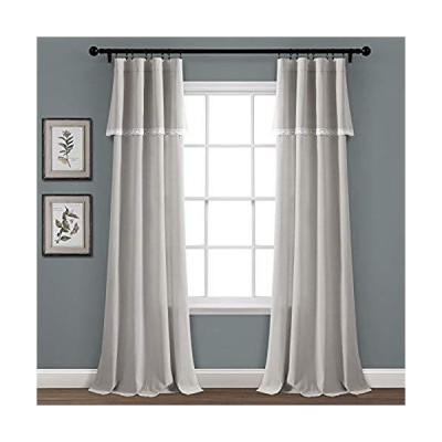 "Lush Decor, Light Gray Linen Lace Window Curtain Panel Pair, 84"" x 38""【並行輸入品】"