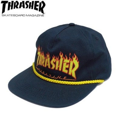 THRASHER FLAME ROPE SNAPBACK CAP NAVY スラッシャー キャップ  帽子 スナップバック ネイビー 20s