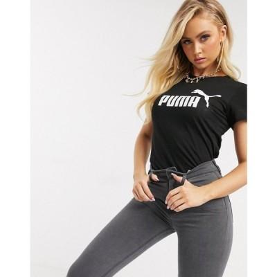 プーマ Puma レディース Tシャツ トップス Essentials logo t-shirt in black コットンブラック