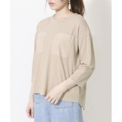 COMME CA ISM/コムサイズム 異素材切り替え ポケット Tシャツ ベージュ F