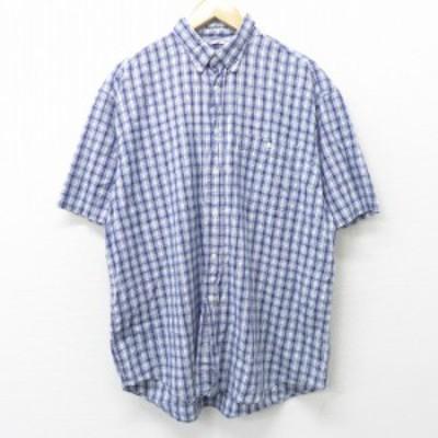 古着 半袖 シャツ 90年代 90s コットン ボタンダウン 紺他 ネイビー チェック XLサイズ 中古 メンズ トップス シャツ トップス 古着