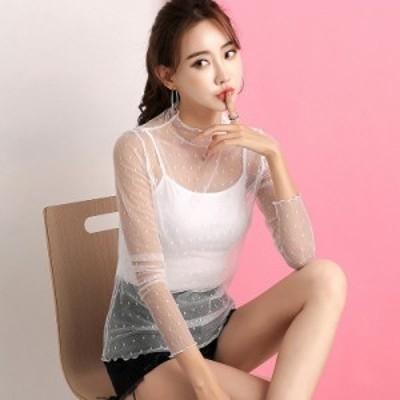 レディース Tシャツ カットソー ブラウス 透け素材 透け感 長袖 トップス ブラック ホワイト M L XL 送料無料