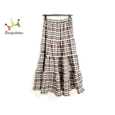 ロージーモンスター ロングスカート サイズF レディース 美品 黒×白×ブラウン チェック柄     スペシャル特価 20200827