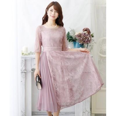 【プールヴー】 ラップスカートプリーツドレス・結婚式・お呼ばれワンピース・パーティードレス レディース ピンク XL PourVous