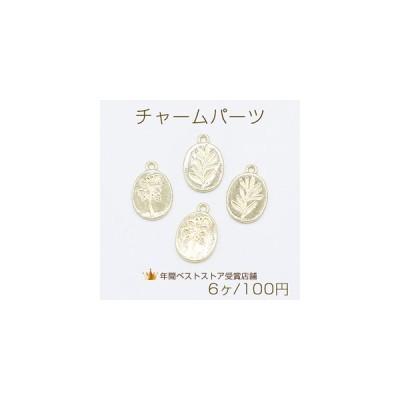 チャームパーツ メタルプレート オーバル 1カン 14×21mm ゴールド【6ヶ】
