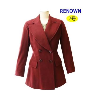 昭和レトロ テーラードジャケット 7号 バーガンディ ボルドー 秋冬 無地 ダブル レディースファッション 1970年代ファッション