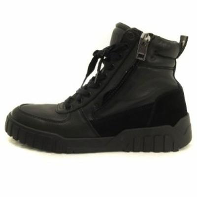 【中古】ディーゼル DIESEL S-RUA MID ハイカット スニーカー Y02003 PR131 T8013 黒 ブラック 27 靴 ■SM メンズ