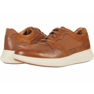 クラークス スニーカー シューズ メンズ Un Globe Run Tan Leather/Textile Combi