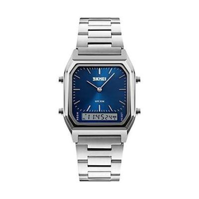 【送料無料】メンズ腕時計 ブルーまたはグリーンダイヤル サファイアガラス クォーツ シルバー ツート