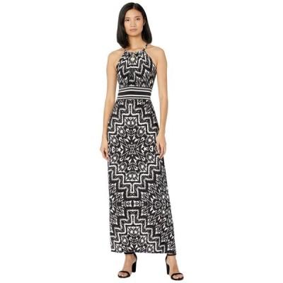ロンドンタイムス London Times レディース ワンピース マキシ丈 ワンピース・ドレス Print Matte Jersey Diamond Morris Maxi Dress Soft White/Black