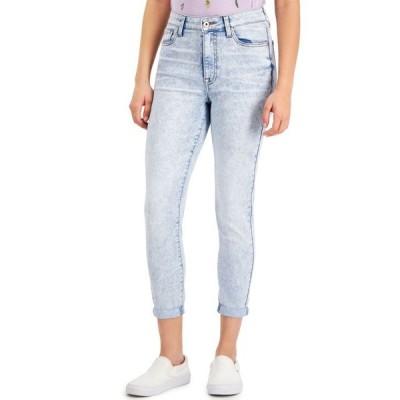 セレブリティピンク レディース デニムパンツ ボトムス Juniors' Curvy High Rise Skinny Cropped Jeans