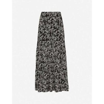 ホイッスルズ WHISTLES レディース ロング・マキシ丈スカート スカート Jasmine-print silk maxi skirt BLACK