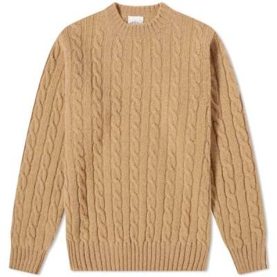 ジャミーソンズオブシェトランド Jamiesons of Shetland メンズ ニット・セーター トップス Jamieson's of Shetland Cable Crew Knit Oatmeal