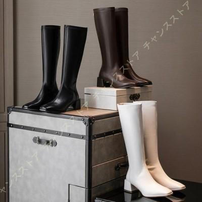 レディース ブーツ ロングブーツ 本革 美脚 カジュアル 長靴 ブーツ 履きやすい 太ヒール ロング ブーツ 歩きやすい コスプレ靴 コスプレブーツ 長ブーツ