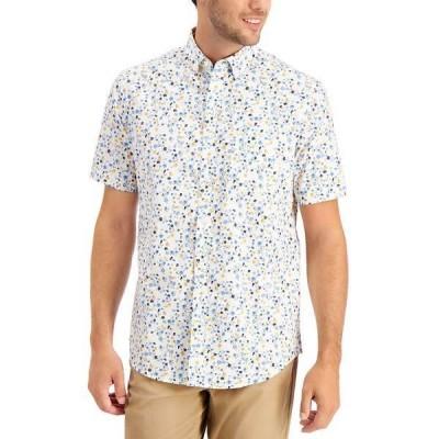 クラブルーム シャツ トップス メンズ Men's Floral-Print Cotton Shirt,  White Multi