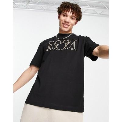 リバーアイランド メンズ Tシャツ トップス River Island t-shirt with Micky print in black Black