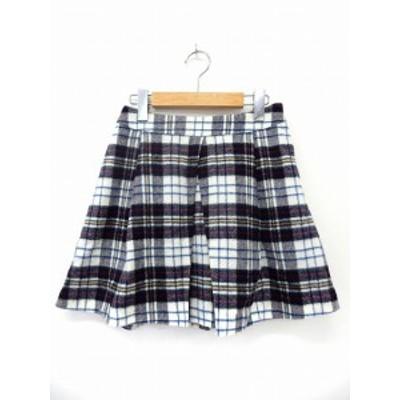 【中古】バナーバレット Banner Barrett スカート プリーツ ミニ チェック サイドジップ ウール 36 ブルー ホワイト