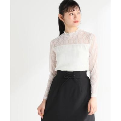(Honeys/ハニーズ)袖レースハイネック/レディース アイボリー