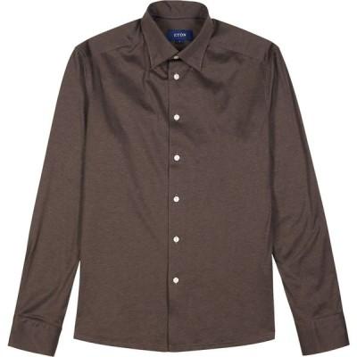 イートン Eton メンズ シャツ トップス Brown Cotton-Jersey Shirt Brown