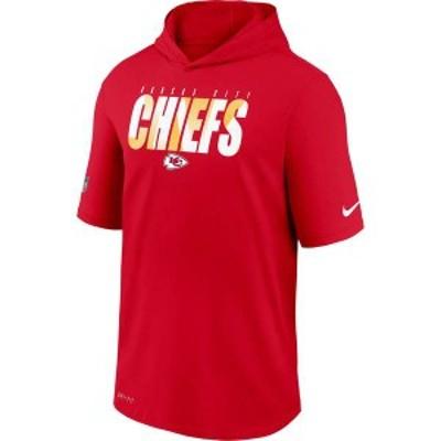 ナイキ メンズ パーカー・スウェット アウター Nike Men's Kansas City Chiefs University Red Short Sleeve Dri-FIT Training Hoodie