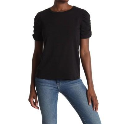 プレイオネ レディース Tシャツ トップス Rouched Short Sleeve Tee BLACK