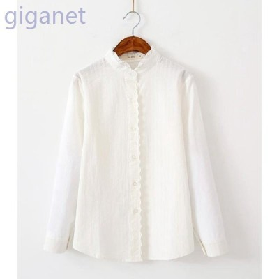 シャツレディース白シャツ長袖シャツブラウスフリル襟ホワイトレース立ち襟シャツ