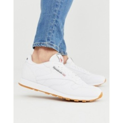 リーボック メンズ スニーカー シューズ Reebok Classic leather sneakers in white 49799 White