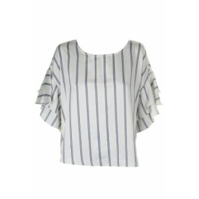 vertical ヴァ―ティカル ファッション トップス Vince Camuto. Ivory Blue Graduated Ruffle Sleeve Vertical Striped Blouse L