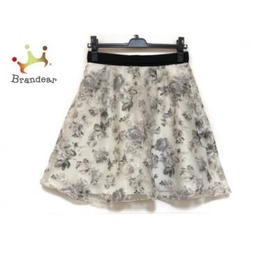 アプワイザーリッシェ Apuweiser-riche スカート サイズ2 M レディース ライトグレー×黒 花柄   スペシャル特価 20200517