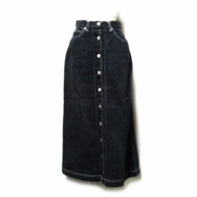 Vintage PINK HOUSE ヴィンテージ  ピンクハウス デニムロングスカート (黒 ブラック マキシ丈) 131498 【中古】