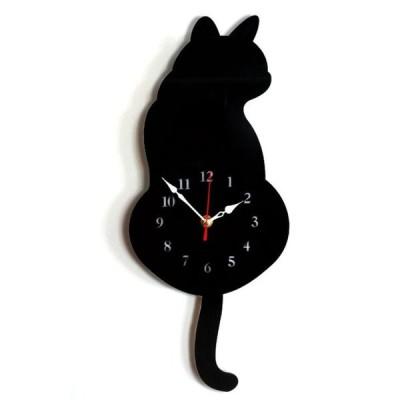 しっぽが動く 壁掛けキャットクロック 《ブラック》 壁掛け かわいい 猫 ねこ 時計(定形外郵便、代引不可、送料別商品)
