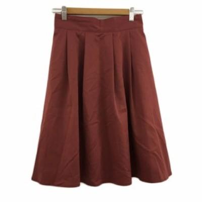 【中古】シーディーエスベーシック C.D.S BASIC スカート フレア 膝丈 タック 無地 40 ボルドー 赤 レッド