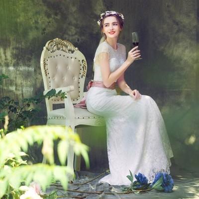 ウェディングドレス 半袖 マーメイドライン ウエディングドレス 安い 花嫁 ロングドレス 披露宴 マーメイドドレス 二次会 結婚式 レトロドレス サッシュベルト