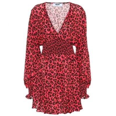 エムエスジーエム MSGM レディース ワンピース ワンピース・ドレス Leopard-print crepe minidress