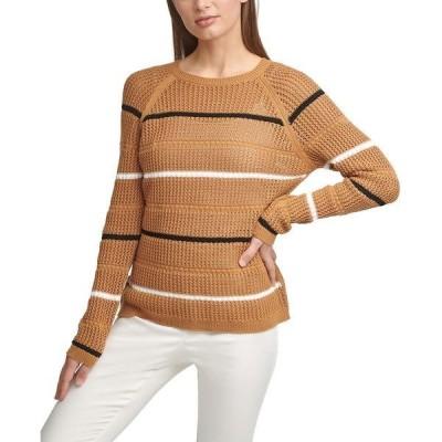 カルバンクライン ニット&セーター アウター レディース Cotton Striped Sweater Luggage/Black