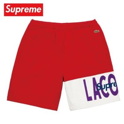 Supreme シュプリーム LACOSTE Logo Panel Sweatshort Black  Red レッド 2019-2020年秋冬