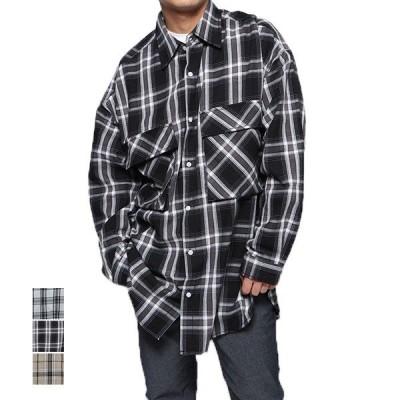 シャツ メンズ 長袖 おしゃれ カジュアル ビッグシルエット オーバーシャツ チェック柄 ポケット トップス