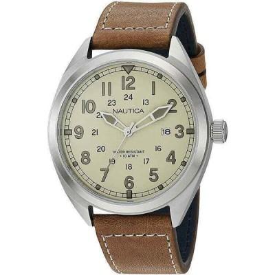 ノーティカ 腕時計 Nautica メンズ 電池式 Park クォーツ Stainless Steel/Brown Leather Watch NAPBTP009