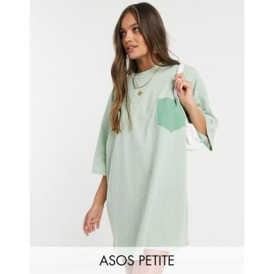エイソス ミディドレス レディース ASOS DESIGN Petite oversized t-shirt dress in with patch pocket in sage エイソス ASOS