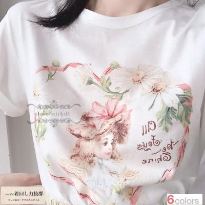 Tシャツ レディース 半袖 トップス 無地 カジュアルTシャツ かわいい ゆったり 2019夏新作 セール