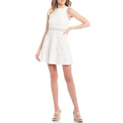 シティヴァイブ レディース ワンピース トップス Sleeveless Lace X-Back Illusion Waist Fit-and-Flare Dress