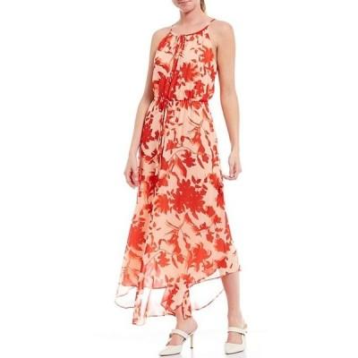 ギブソンアンドラティマー レディース ワンピース トップス Georgette Key Hole Halter Tie Neck Sleeveless Floral Print Maxi Dress